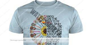 Hippy sunflower power guitar knock on the door to my soul guy shirt