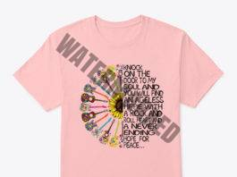 Hippy sunflower power guitar knock on the door to my soul shirt