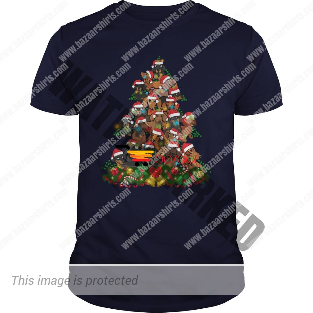Dachshund Christmas tree guy shirt