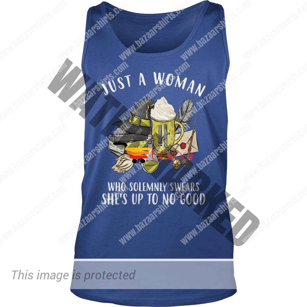 Just a woman who solemnly swears she's up to no good Hufflepuff Harry Potter tank top