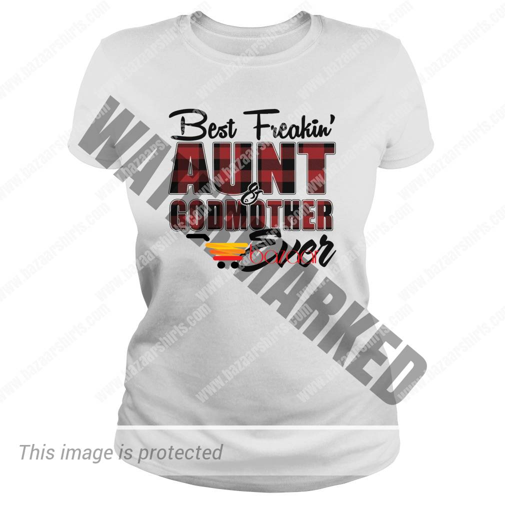Best freakin aunt godmother ever red black Checkered lady shirt