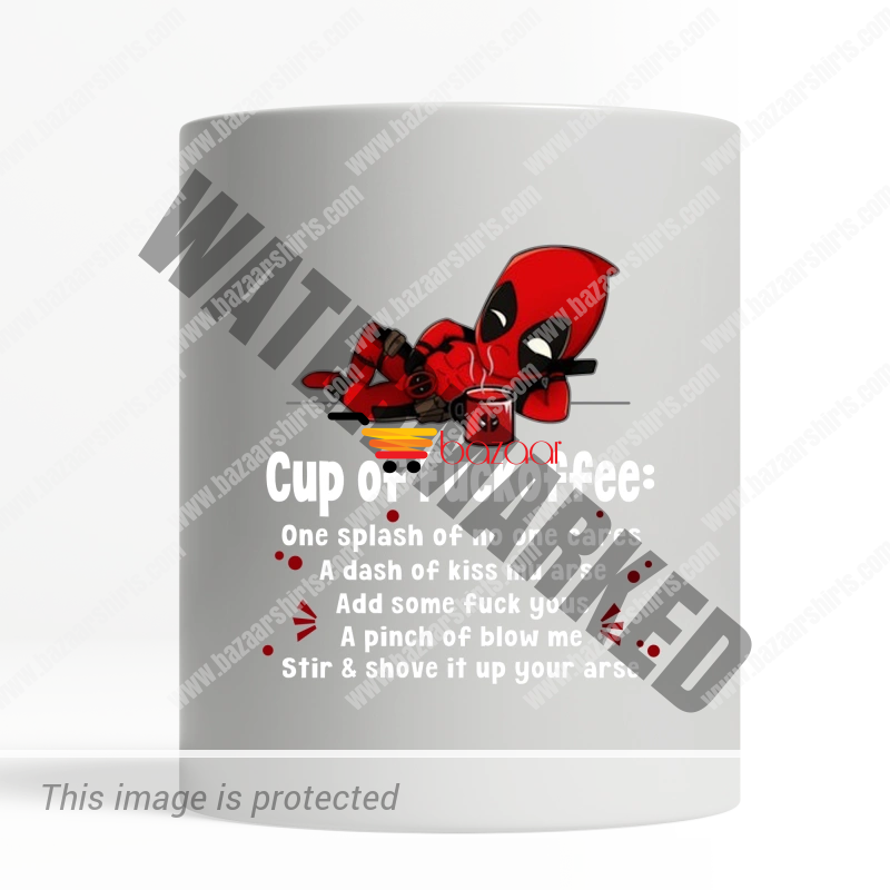 DEADPOOL CUP OF FUCKOFFEE ONE SPLASH OF NO ONE CARES MUG