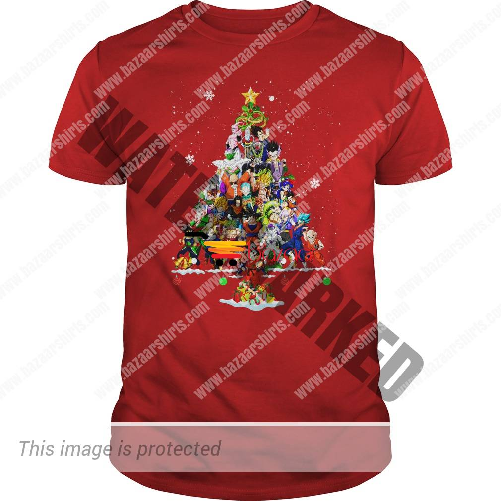 Goku and Dragon Ball characters Christmas Tree shirt