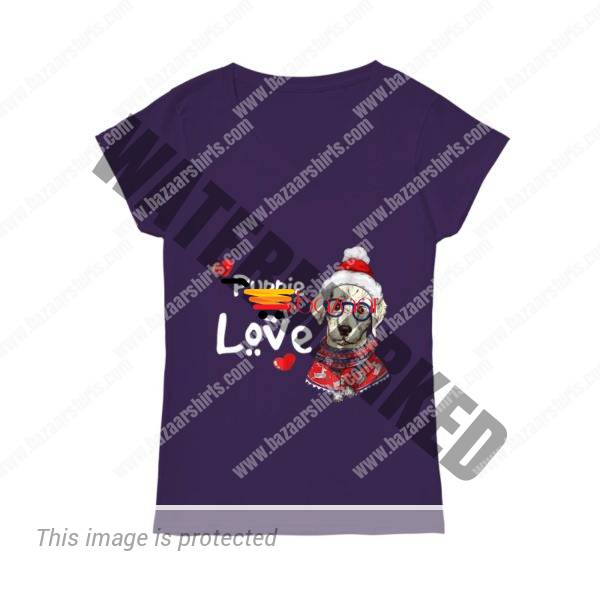 Puppie Love Rescue Dog Christmas women v-neck shirt