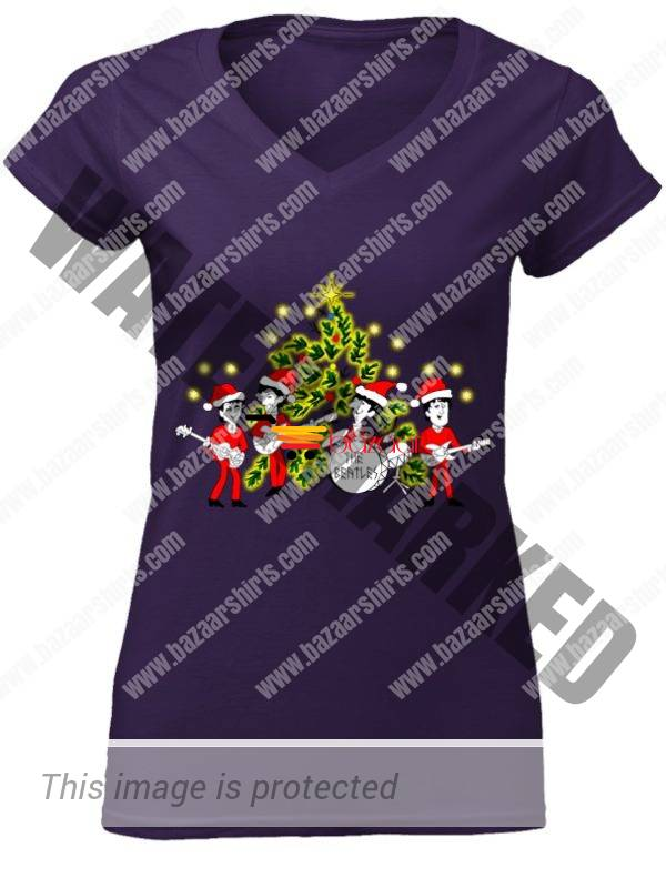 The Beatles band Singing Christmas Tree women v-neck shirtThe Beatles band Singing Christmas Tree women v-neck shirt