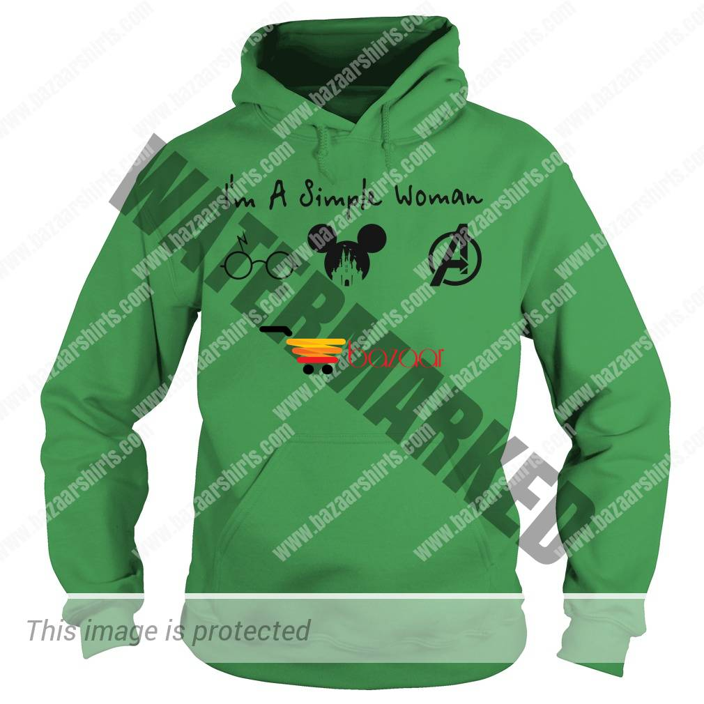 A simple woman who love Harry Potter Disney and Avengers hoodie