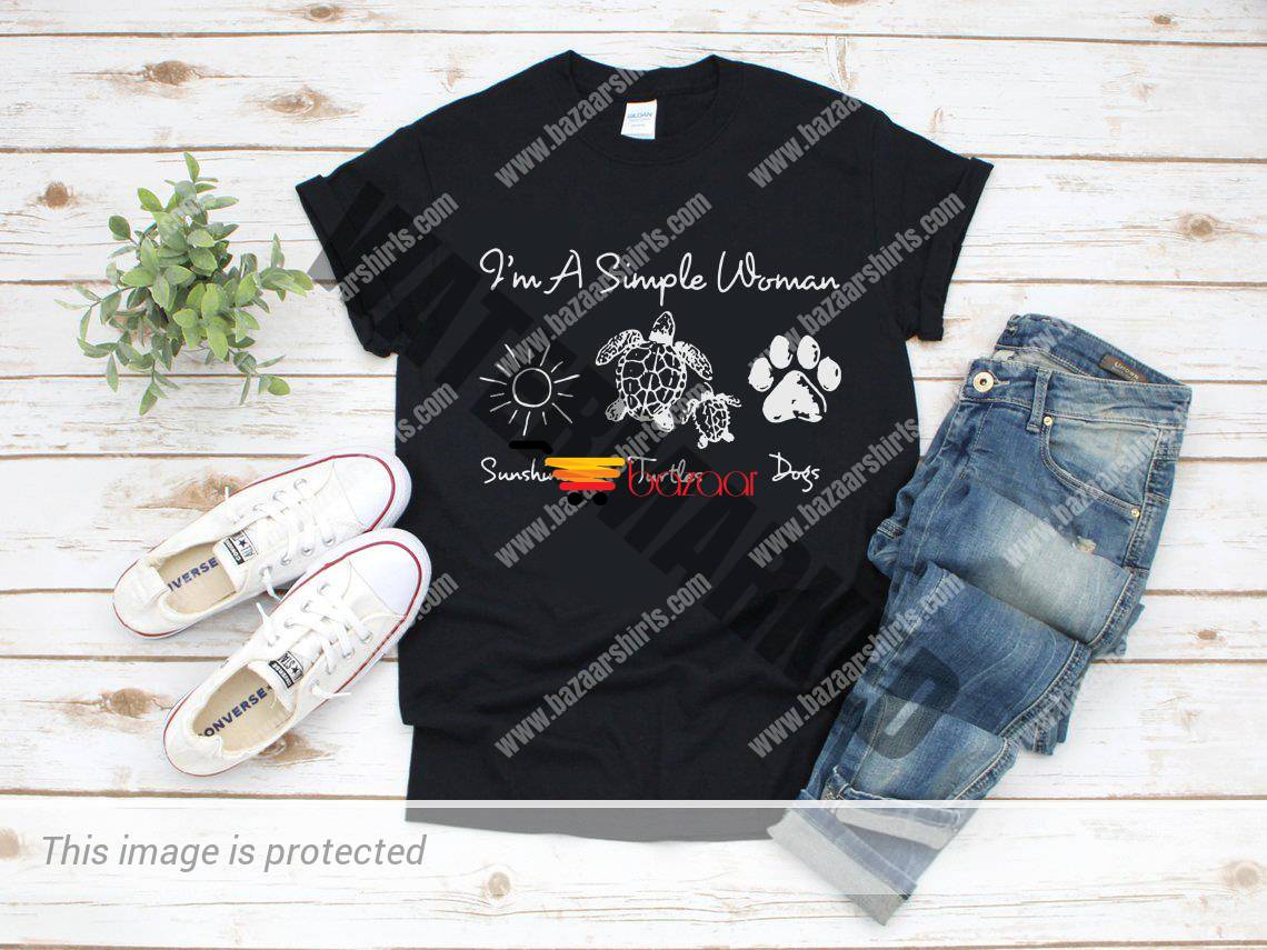I'm a simple woman I like Sunshine Turtles and Dogs shirt