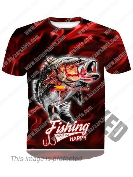 Fishing makes me happy 3d t-shirt