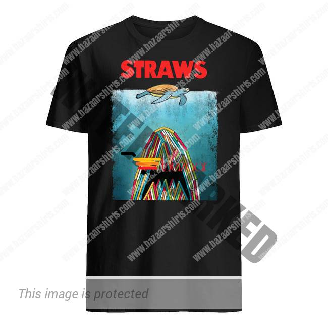 Shark plastic straws save the turtle shirt